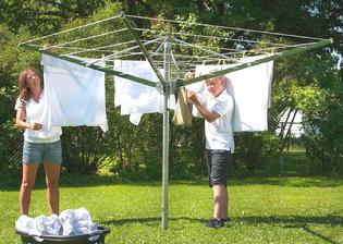 The Deluxe 9FT Sunshine Clothesline folds up for easy storage, comes fully roped and ready to hang clothes, all you need to install it is a shovel to dig the hole. The approximate washer loads of clothing the Deluxe 9FT can hold are 3 to 4.