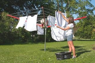 A Large sized 14 FT in diameter, Sunshine Clothesline, umbrella style outdoor clothesline, it has 183 feet of usable rope length, very heavy duty, also it has many useful features, made in USA and manufactured since 1913.