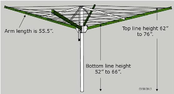 9FT Sunshine Clothesline image with key dimensions and specifications. The height is adjustable.